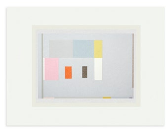 Mid Century Modern, Geometric, abstract minimal original screenprint in pretty colours. Modern, simple art by Emma Lawrenson