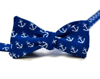 Blue Anchors Men's Bow Tie on Silky Faille Self-tie or Pre-tied, Bow Tie, Coastal Bow Tie, Beach Wedding Bow Tie