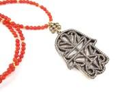 Hamsa Hand of Fatima Rhinestone Necklace Orange Jade Stone Gemstone Statement Gypsy Hippie Bohemian Artisan - One Of A Kind