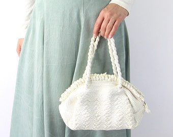 VINTAGE 1940s White Handbag Ribbon Bag