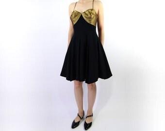 VINTAGE 1980s Party Dress Metallic Full Skirt Short