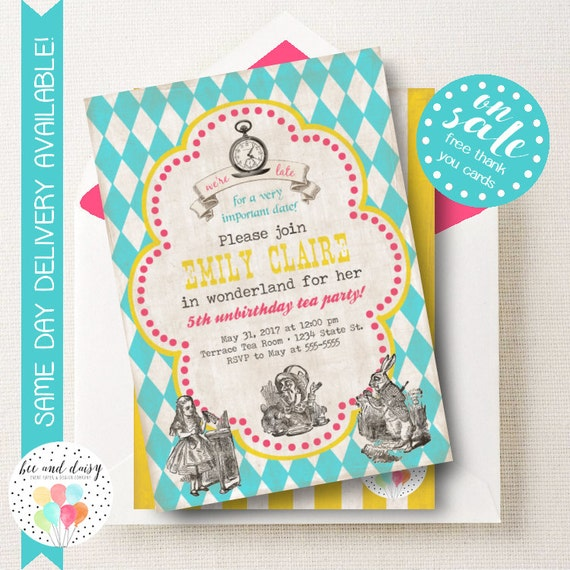 alice in wonderland invitation wonderland birthday by beeanddaisy, Birthday invitations