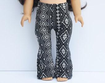 AG Doll Clothes - Flare Leggings, Black, Off-White, Aztec Print, Leggings, Bell Bottoms, Pants