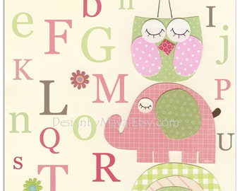 Owl Nursery Art Print  Nursery decor, hayley, owl tree, nursery tree, pink and green owl, baby girl, girl room art decor, Alphabet art girl