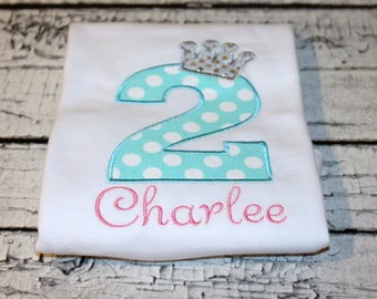 Girl's Princess Crown Birthday Shirt, Princess Birthday, Personalize with your choice of fabric and thread colors