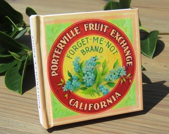 Small Journal - Forget-Me-Not Brand Fruit  - Fruit Crate Art Print Cover