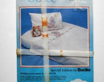 Bucilla Mother Goose Sheet and Pillowcase, Stamped for Embroidery, Cross Stitch, Paint