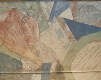 """Fabric, Abstract, Cotton/Cotton Blend, Tan, Gold, Blue, Mauve, 112"""" x 54"""", Pagunette a/s"""