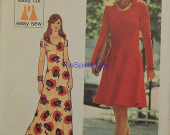 Size 12 SImplicity 6082 Jiffy Knits Dress Maxi Floor and Below Knee LengthFashion Vintage 1970s Misses Womens Uncut Sewing Sew Pattern