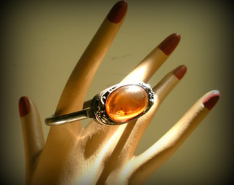 Glowing Genuine Amber and Silver Bracelet