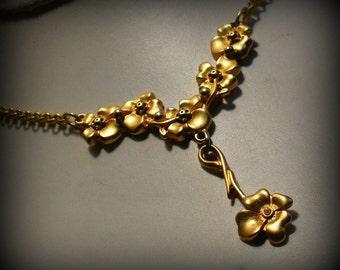 Romantic Golden Floral Choker