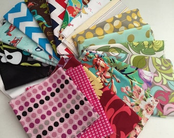 Clearance Sale Extra Large Scrap Pack - Michael Miller, Amy Butler and Riley Blake Fabrics