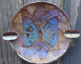 Vintage butterfly ashtray, real butterfly wings, vintage butterfly home decor