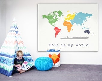 Playroom Map Etsy - World map for playroom