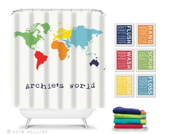 Shower curtain, bathroom decor. Children's bathroom decor. Kids bathroom decor. WORLD MAP shower curtain for bathroom by WallFry