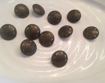 All the same button - 11 vintage gold metal shank buttons