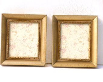 Set  Shabby Chic Decor, Holiday gift, Framed Wall Art, Wall Hanging, Country wall decor, Personalized gift, Gold rustic frames,