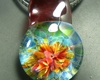 Lampwork Pendant - Boro Jewelry - Glass Necklace - Amazon Pixie - Tropical Sunset Colors