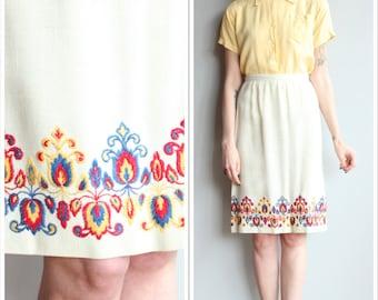 1960s Skirt // Eden Roberts Linen Skirt // vintage 60s Embroidered skirt