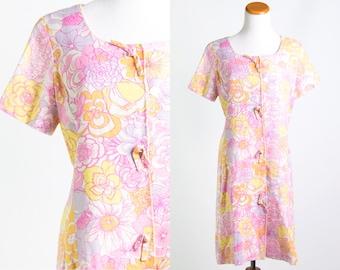Vintage 1960s Pastel Zinnia Floral Mod Print Dress // White Pink Purple Yellow Orange Succulent Boho // Size Medium Large // FREE SHIPPING