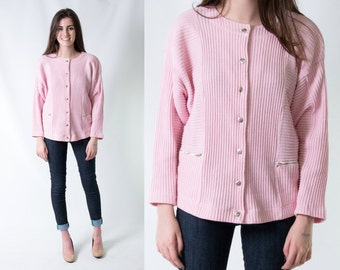 80s Vintage Pink Ribbed Knit Cardigan Sweater w/ Boxy Fit & Metal Zippers * Size Large * FREE SHIPPING