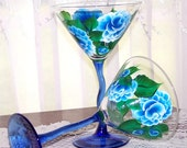 Martini Glasses Set of 2  with Hand Painted Blue Roses