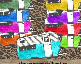 The Camper Collection digital clipart paper kit Instant Download elements commercial use rainbow colored campers glamper invitation supply