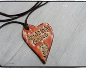 Essential Oil Diffuser Amazing Grace  Pendant Aromatherapy Jewelry Rustic Colors Pottery necklace