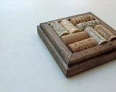 Wine Cork Coaster - Gifts under 10 - Office Home Gift - reclaimed wood - cork coaster - wood coaster