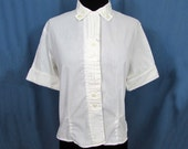 White cotton blouse - 50s-60s roll sleeves, tucks in front - Size 36