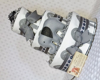 Baby Diaper Cake Elephants Gray, Pink, Navy, or Green Shower Gift Centerpiece