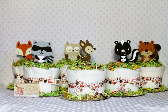 Baby Diaper Cakes Woodland Forest Animals By