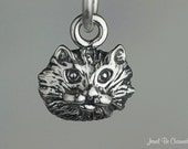Miniature Cat Face Charm Sterling Silver Furry Fluffy Kitty Small Tiny