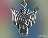 Sterling Silver  Dracula Charm Vampire Halloween Monster 3D Solid .925