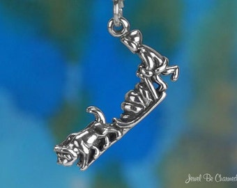 Sterling Silver Musher Sled Dog Charm Husky Malamute 3D Solid .925
