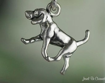 Foxhound, Beagle, or Harrier Charm Miniature Sterling Silver Dog Tiny