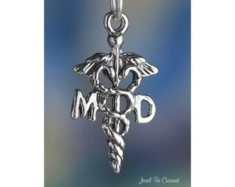 Sterling Silver Medical Doctor MD Charm Caduceus Symbol Solid .925