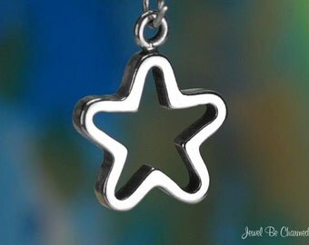 Sterling Silver Open Star Charm Stars Outline Superstar Solid .925