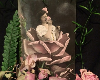 Antique Photo Postcard - Girl in Pink Rose