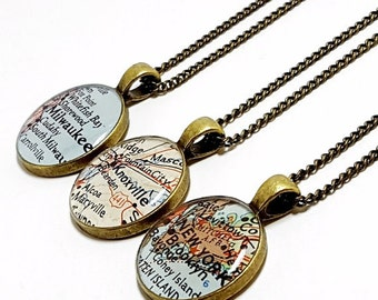 CUSTOM Vintage Map Necklace. You Pick City, State, or Country. Worldwide. One Necklace. Map Pendant. Gifts For Sister. Sister Necklace.
