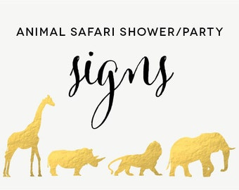 Safari Animal Baby Shower/Party Signs - Bubbly Bar, Gifts, Watering Hole, Dessert Bar, Feed the Animals - Instant Download - Print Yourself