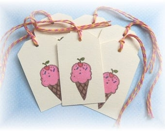 Ice Cream Cone - Ice cream scoop - gift/hang Tags (8)