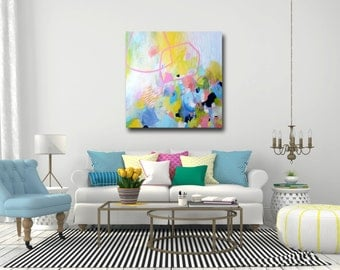 Large Abstract Print, Giclee Print, Blue Pink Yellow Wall Art, Canvas Print from Painting, Expressive Art, Canvas Art, Colorful Print