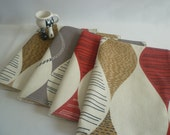 Red Placemats 6 Funky Retro Grey Brown Funky Fabric washable