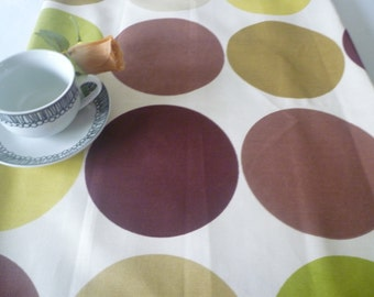 "Green Brown Wide Table Runner Retro Funky Modern Sideboard/ Spotty Coffee/ Console Table Cotton 54"" long x 23"" wide"