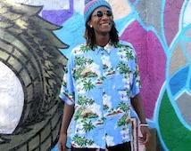 Vintage Hawaiian Print Rayon Shirt, 90s Short Sleeved Mens Button Up Shirt, Hip Hop Street Style Tribal Palm Trees Design, XXXL 3X Triple X