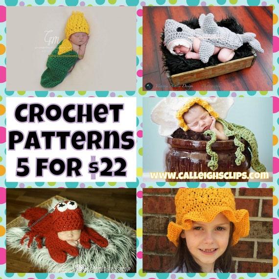 Crochet Pattern Bundle - 5 for 22.00 - Digital PDF Files (not finished items)