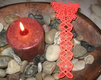 Bookmark, Butterfly, Lace, Florescent Orange
