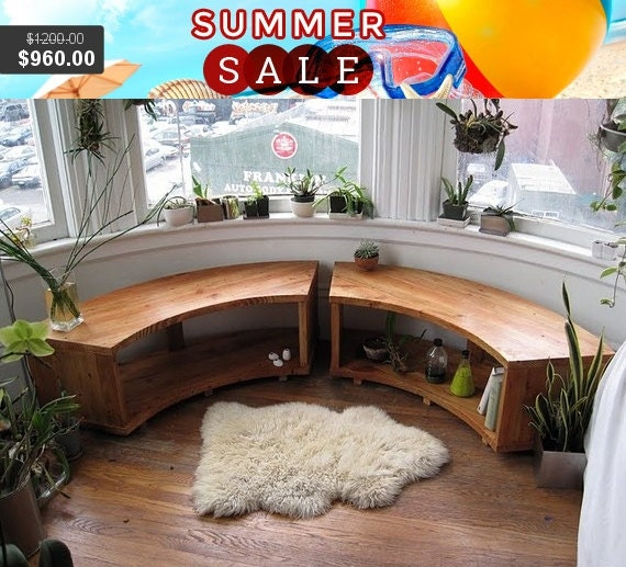Limited Discount Curved Bay Window Bench, Recycled Douglas Fir