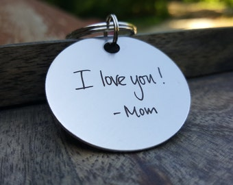Handwritten - Actual Handwriting - Personalized Keychain - Custom Round Stainless Steel - Handwriting - Memorial - Remembrance